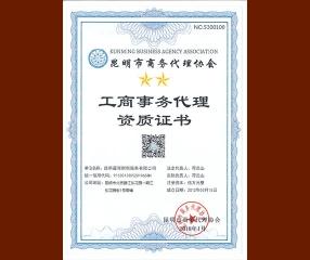 工商事务代理资质证书